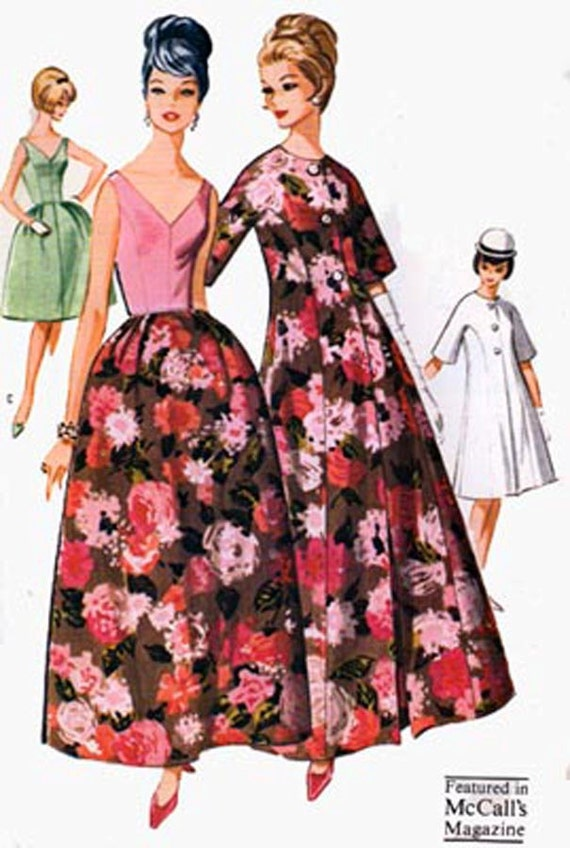 1960s McCalls 6720 Low V Neck and Back Formal Dress w/ Bell Shaped Skirt and Princess Coat Vintage 60s Sewing Pattern Size 16 Bust 36 UNCUT