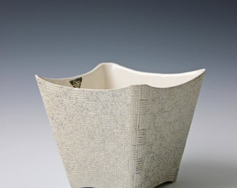 Large white and silver modern square ceramic by Shawnee - square vase