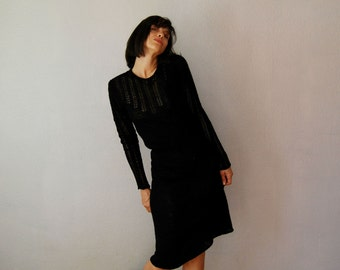 vintage 1970s SKINNY knit RUFFLE day dress
