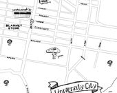 University City Hand-Drawn Map Philadelphia 8x10