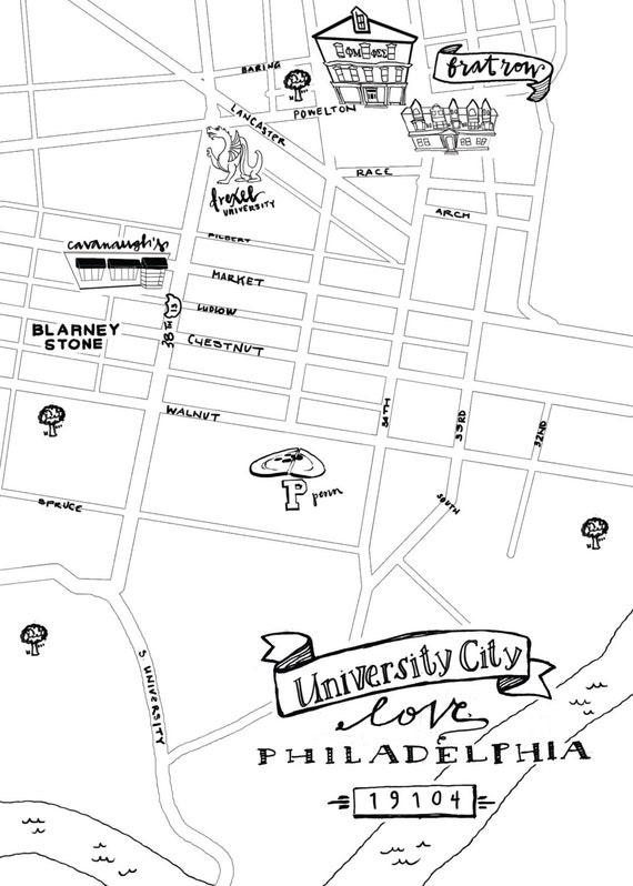 University City Hand-Drawn Map Philadelphia 8x10