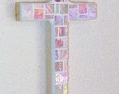 Pink Wall Cross, iridized glass mosaic