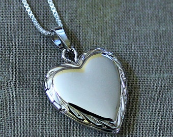 Valentines Day Sterling Silver Heart Locket Necklace - Keepsake Treasure Gift