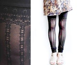 Black Lace Leggings, Border Pattern, Faux Thigh High Lace Leggings, Thigh High, Sexy Leggings, norwegianwood, lace leggings, Black Pants