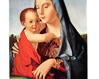 Classic Art Print - Madonna and Child by Antonello da Messina - Reproduction Painting - 1952 Vintage Book Page - 15 x 11
