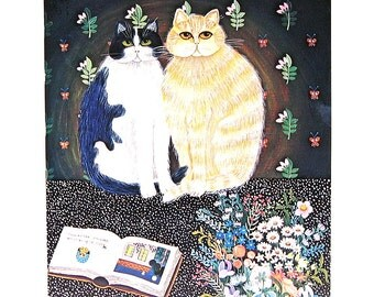 Cat Print - The Couple - 1985 Vintage Book Page - 9 x 12