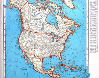 Map of North America - 1942 Vintage Map from World Atlas - 14 x 11 - 2 Sided