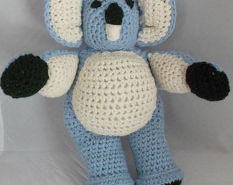 Koala Bear Stuffed Animal Amigurumi Plushie in Blue and Cream Cotton