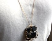 Black Jet Gemstone pendant on 14K Gold filled chain - 32 inches - Wirework - Wire wrapped
