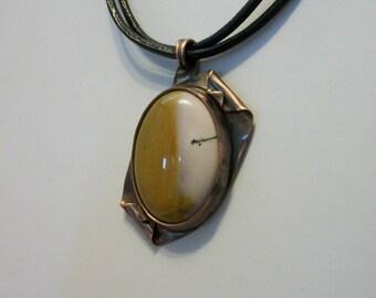 Antiqued copper necklace mookaite jasper - copper jewelry - copper necklace - stone necklace - cabochon necklace