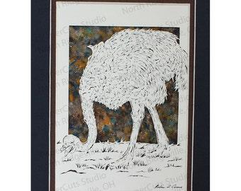 Ostrich Papercutting- Handcut Original, Watercolor Background