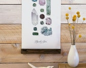 Minerals & Gems Vol.2 - Mini wall hanging, wood trim and printed on textured cotton canvas. Vintage Science Posters