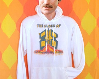 vintage 80s hoodie sweatshirt REYNOLDS high school rockets seniors white Medium asheville
