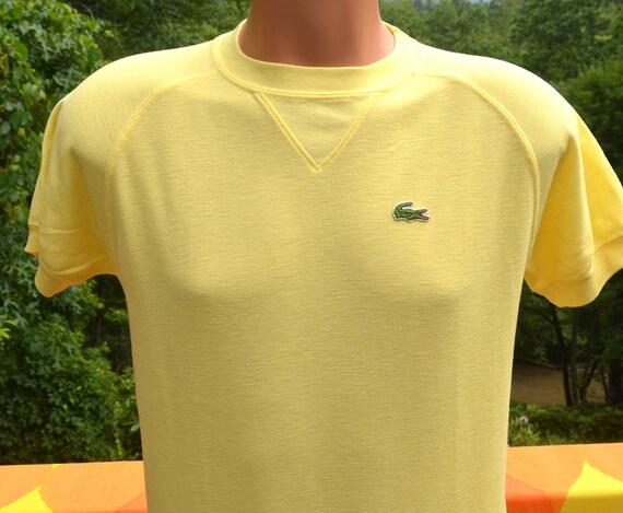 Vintage 80s t shirt izod lacoste alligator raglan yellow plain for Lacoste shirts with big alligator