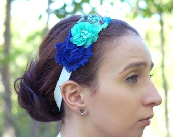 Shabby Chiffon Headband -Ocean Breeze - Blue, Turquoise,  Flowers Pattern