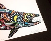 """Limited Edition Chinook Salmon Zentangle Fish Art Gicleé Print 8.5""""x11"""" Archival Matted to 11""""x14"""""""