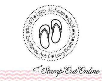 Personalized Custom Return Address Rubber Stamp, Wood Plastic Stamp. Fun Cute Flip Flops Beach House Address Stamper, Self Inking, Ink Pad