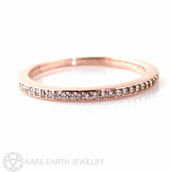 Rose Gold Diamond Wedding Band Diamond Anniversary Band Diamond Ring 14K or 18K Gold