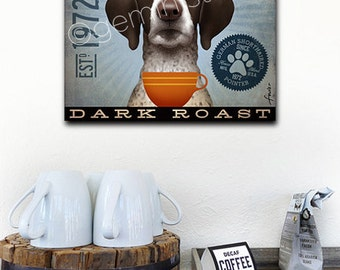 German Shorthaired Pointer GSP Dog Coffee Company graphic illustration on gallery wrapped canvas by Stephen Fowler
