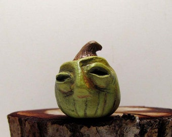 Miniature Zombie Halloween Pumpkin - Jack O' Lantern - Paperclay