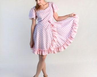 Vintage Floral Square Dance Dress - Lolita Bubblegum Pastel Day Dress - Medium Large Patio