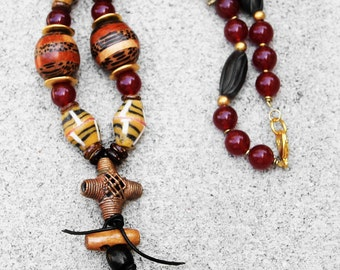 African Necklace, Tribal Necklace, African Bead Necklace, Ngozi African Beaded Statement Necklace