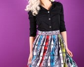 50s skirt - Bright plaid with florals cotton skirt -  Large