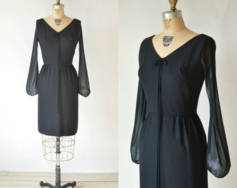 Vintage Black Dress --- 1960s Ann Barry Jr Cocktail Dress