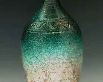 Raku fired stoneware bottle, vase, vessel incense burner. R207