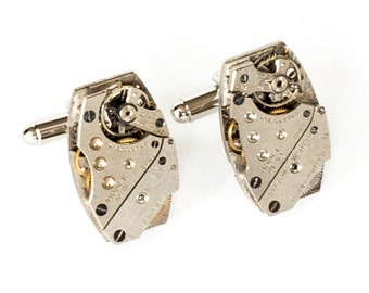 Steampunk Cufflinks with Perfectly Matched Silver Large Rectangular Vintage Watch Movements by Velvet Mechanism