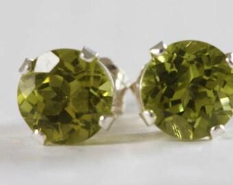 Peridot Stud Earrings 5mm Sterling Silver With Genuine Natural Green Peridot Gemstones August Birthstone