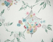 1950s Vintage Wallpaper by the Yard - Pink Blue and Yellow flowers in a wire lantern