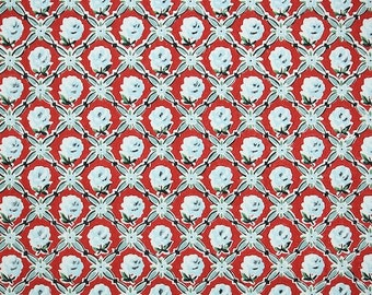 1950s Vintage Wallpaper by the Yard - Blue and Red Floral Wallpaper with Tiny Blue Roses on Red Geometric Design