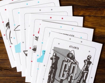 Altered States set of Postcards Featuring 6 Cities