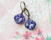 Tanzanite Earring Antique Style Jewelry Vintage Style Jewelry Swarovski Crystal Retro Jewelry Sparkly Earrings Dangle Earring Purple Earring