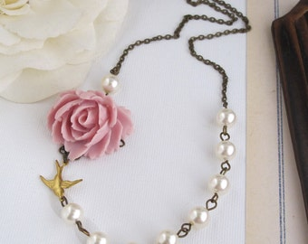 Dusty Pink Rose Necklace. Cream Rose Swarovski Crystal Pearls Necklace. Large Rose, Flying Swallow Antiqued Brass Chain Necklace