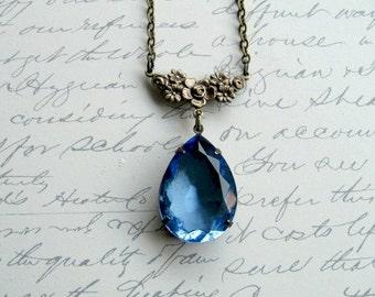 Blue jewel necklace, vintage jewel pendant, faceted stone, teardrop stone