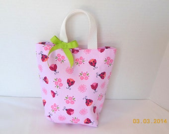 Lady Bugs and Flowers Purse/Gift Bag/Tote/Easter Basket