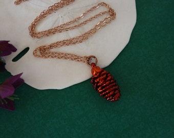 Copper Pinecone Necklace, Copper, Real PineCones, Copper Pine Cones, PN7