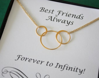 Best Friend Infinity Necklaces, BFF, Infinite Friendship, Gold Filled, Karma, Circles, Thank you card