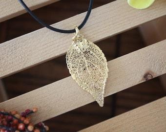 Gold Leaf Necklace, Evergreen Gold Real Leaf, Evergreen Leaf Pendant, Gold Evergreen Leaf Necklace, Real Leaf Necklace, 24kt Gold, LL10