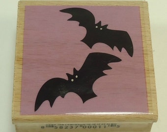 Bats Halloween Wood Mounted Rubber Stamp By Studio G