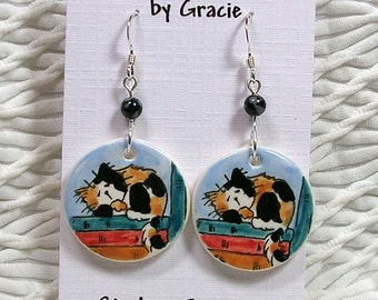 Calico Cat On Books Clay Earrings Handmade Round French Wire With Stone Bead by GMS