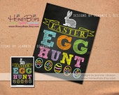"Easter Egg Hunt Chalkboard 8x10"" Sign Instant Download PDF file"