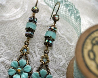 Seafoam blue, duck egg blue, long, exclusive, handmade earrings, summer flowers, opaque pastel turquoise, elegant.