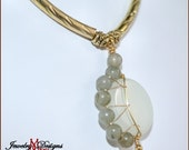 Crescent Moon Necklace in Jade and Labradorite Genuine Gemstones