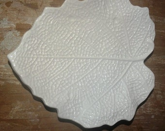 Fall Leaves,  Wedding White Leaf Plates, Made in Italy, White Leaves, Costa Made in Italy Porcelain, Fall Leaves, Maple Leaf