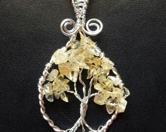 Tree of life pendant wire wrapped genuine citrine