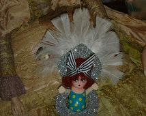 Vintage Bisque Kewpie Doll Mini Carnival Prize Showgirl White Feathers Repaint