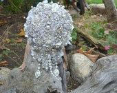 Champagne pearl cascading brooch bouquet -- deposit on a made-to-order wedding bouquet